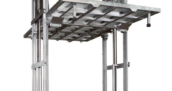 Montacarichi Mod M2 Montacarichi o piattaforma elevatrice per merci a comando elettrico con movimentazioni oleodinamiche per traslazione di merci tra piani definiti a DUE colonne