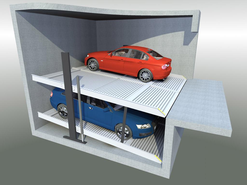 Sistema per il parcheggio di autoveicoli a comando elettrico con movimentazioni oleodinamiche con due piattaforme singole sovrapposte idonee a parcheggiare in modo indipendente due autoveicoli.