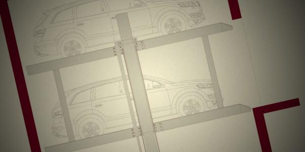 Mod C2 C4 Sollevatore per auto e sistema per il parcheggio di autoveicoli a comando elettrico con movimentazioni oleodinamiche con due piattaforme singole sovrapposte idonee a parcheggiare in modo indipendente due o quattro autoveicoli