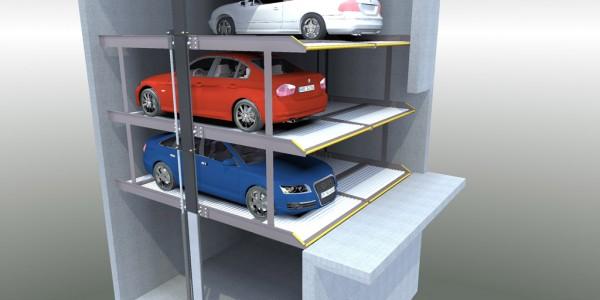 Mod DP 03 DP 06 Sollevatore per auto e sistema per il parcheggio di autoveicoli a comando elettrico con movimentazioni oleodinamiche con tre piattaforme singole sovrapposte idonee a parcheggiare in modo indipendente tre o sei autoveicoli.
